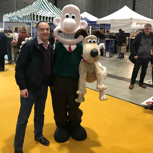 Rainbow Productions' md David Scott was on hand to check all was well with the new Wallace & Gromit costume.