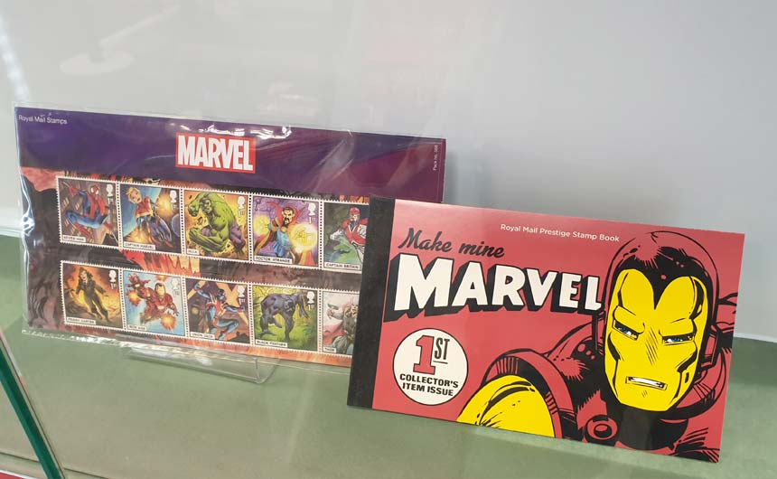 The recently issued Marvel Comics' stamp collection was on display in Ian's local Post Office.