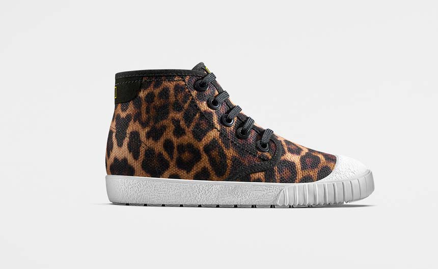 Based on the African Leopard, this high top is very on-trend.
