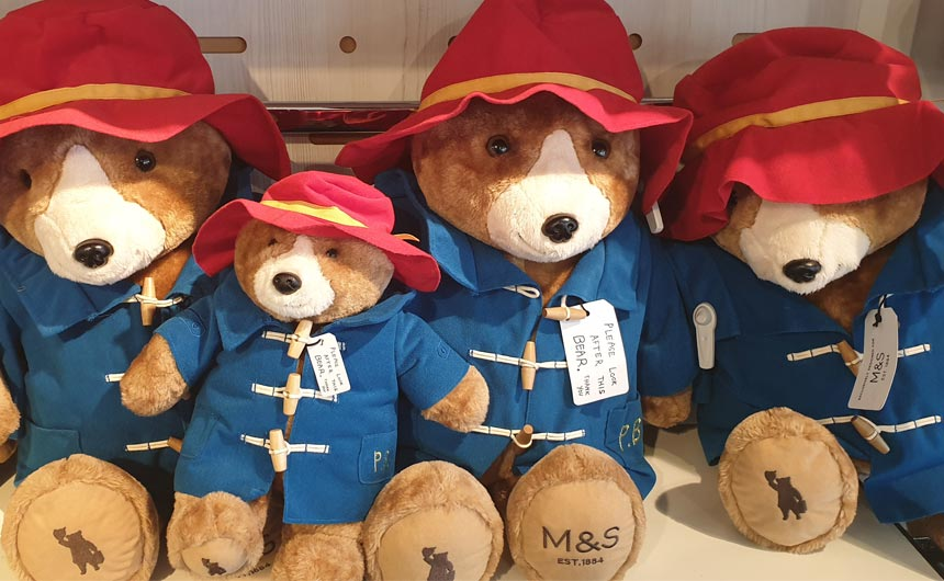 Bespoke versions of Paddington plush was available in-store.