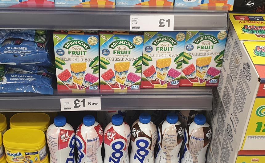 The Robinsons ice pops stood out well on shelf in Iceland.