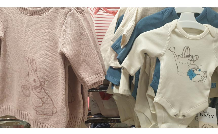 Babywear collections featuring Peter Rabbit were a licensed highlight in the children's apparel department.