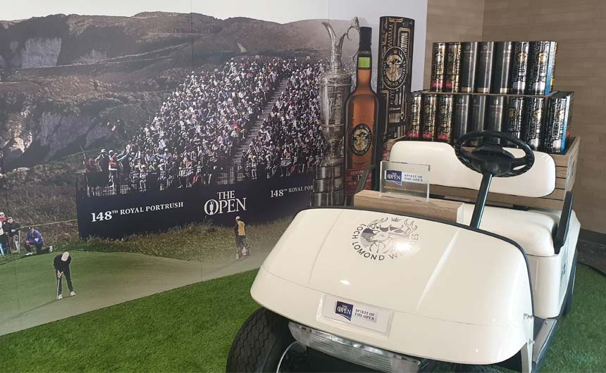 The airport featured a pop up display for The Open golf 'official' whisky.