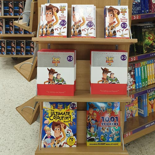 Toy Story 4 movie tie-in books featured on an endcap in WH Smiths.