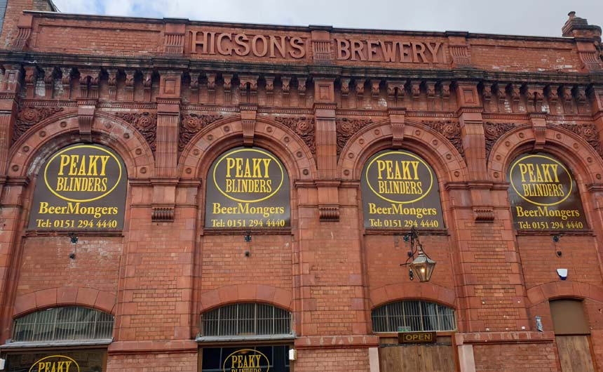 A Peaky Blinders bar/restaurant area is housed in an old brewery in Liverpool.