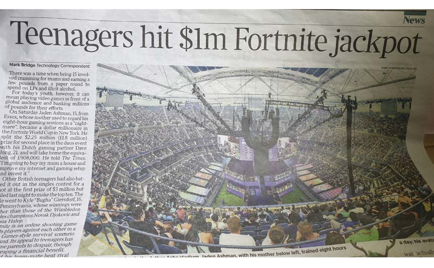 The Times ran a full page story on the Fortnite World Cup.