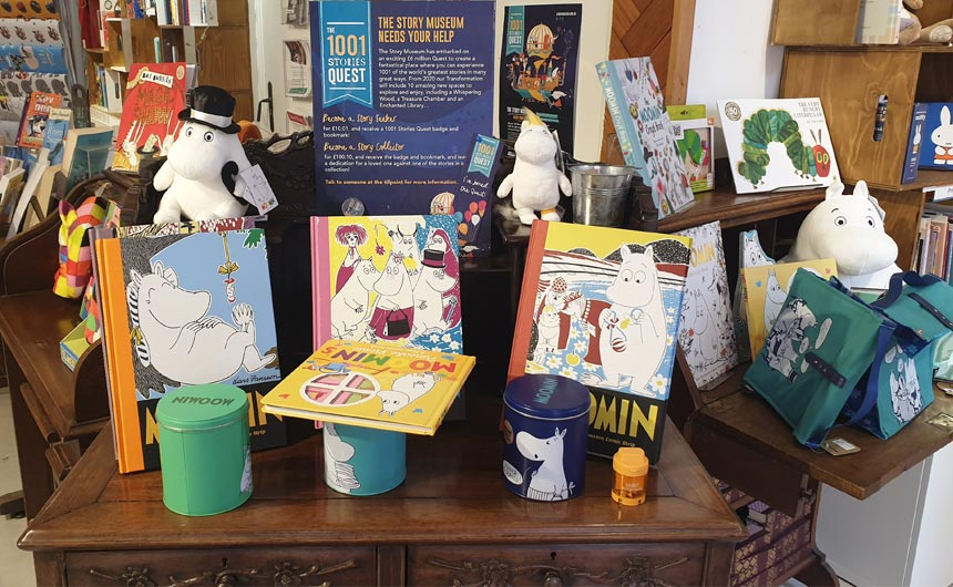 The shop at the Oxford Story Museum stocks licences including Moomin and Elmer.