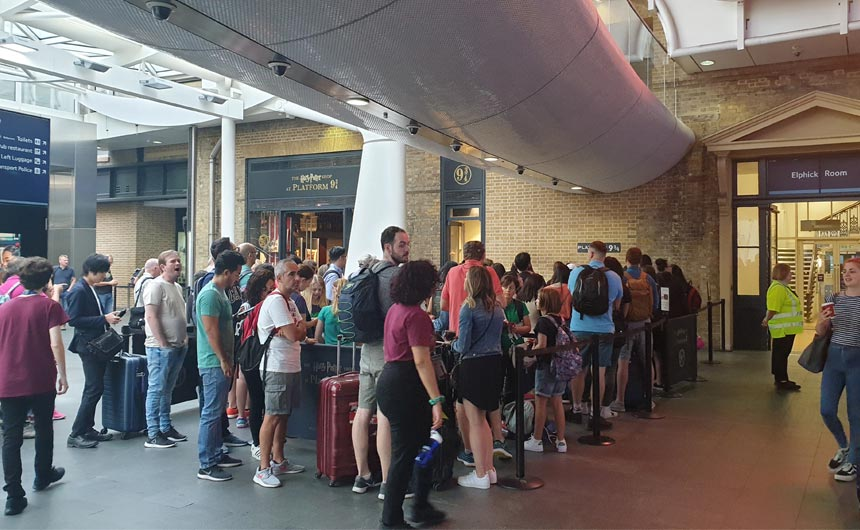 The Harry Potter Platform 9 3/4 shop at London's Kings Cross attracts the crowds.