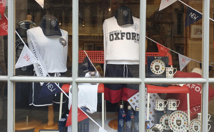 The University of Oxford operates a couple of official shops.