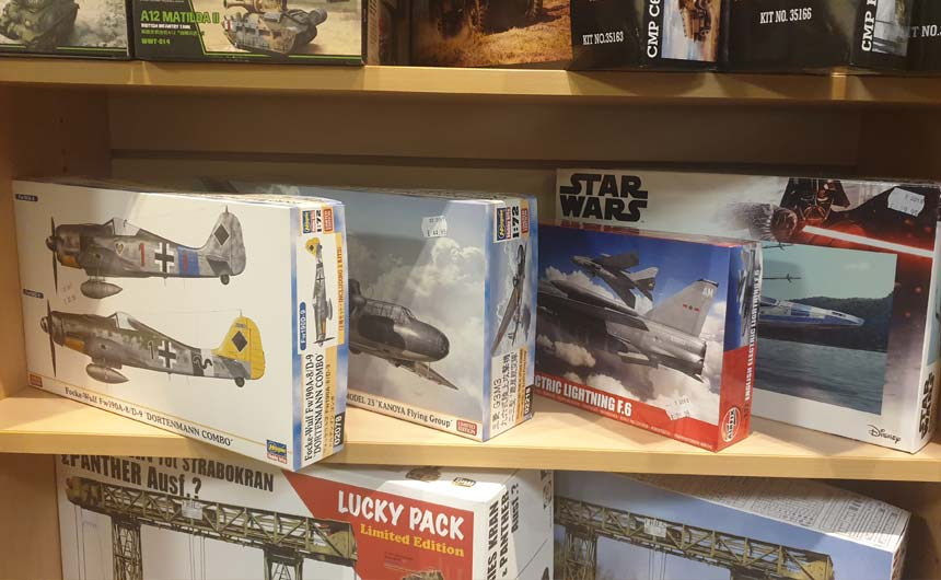 Star Wars and Harry Potter model kits featured in-store.