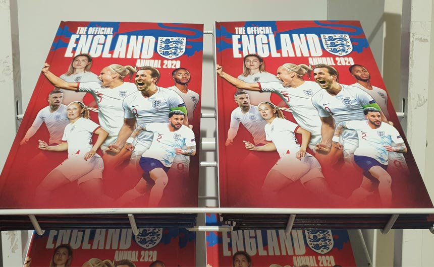 The Official England Annual was among the seasonal products on offer in the store.