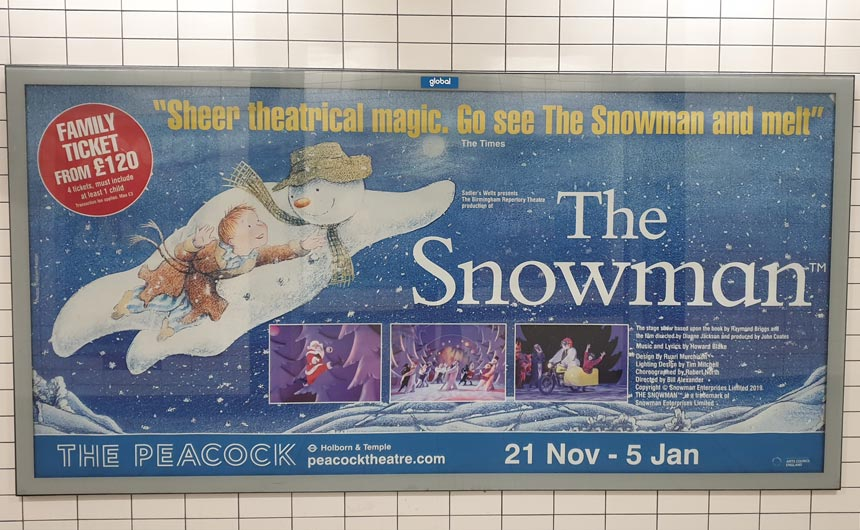 The Snowman stage show is a popular Christmas fixture in London.