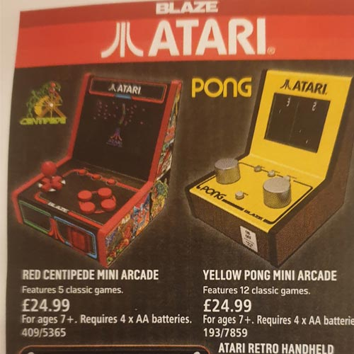 Retro gaming is a key theme in the catalogue including these mini arcade games.