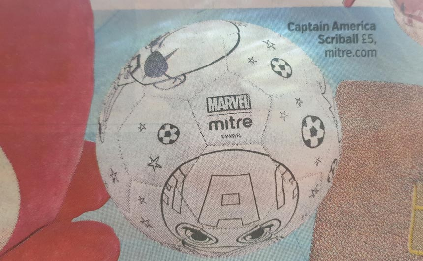The Captain America Scriball can be coloured in.