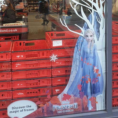 Iceland is featuring Frozen 2 in its windows and TV ad spots.