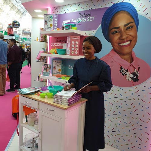 Nadiya Hussain visited the show to support new licensee Wilton Bradley.