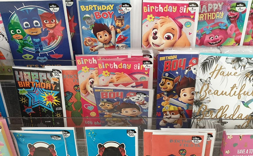 Licensing makes a big splash in Wilko's greeting cards section.