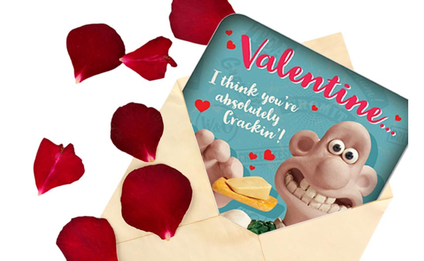 Wallace & Gromit are among the characters wishing you a happy Valentine's Day.