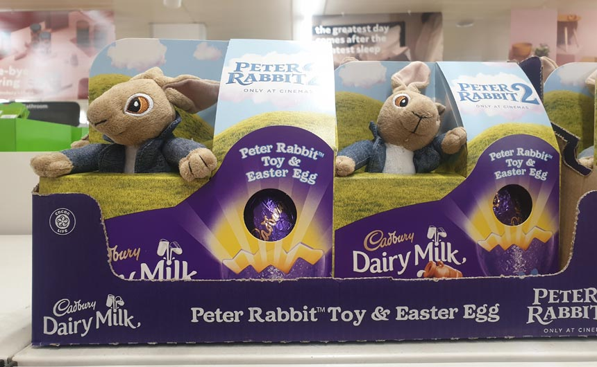 Cadbury's is featuring Peter Rabbit in its Easter offering.