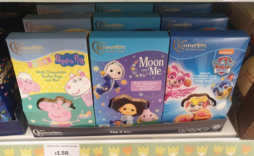 Kinnerton has a number of licensed Easter eggs including Peppa Pig, Moon and Me and PAW Patrol.