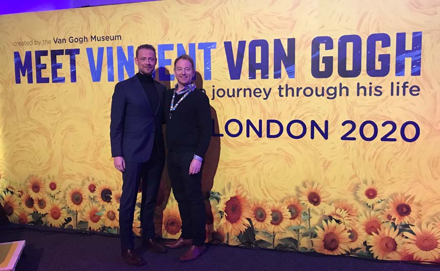 Arnold van de Water (left) and Ian Wickham at the premiere of Meet Vincent Van Gogh in London in February.