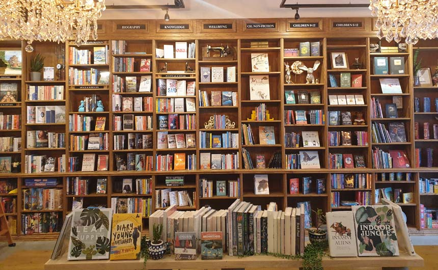 The Blue Bear Bookshop has a classic book shop style to it with lovely fixtures.