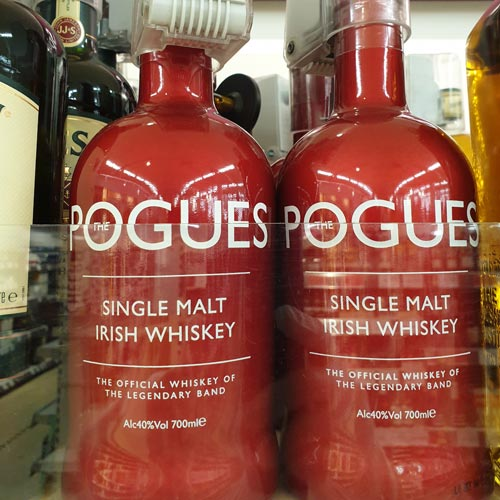 The Pogues' whiskey stood apart from other products on the shelf thanks to the vibrant bottle.
