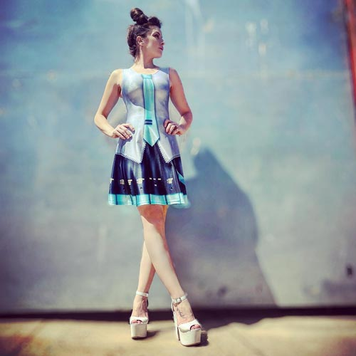 An apparel range around virtual character Hatsune Miku includes cleverly designed dresses.