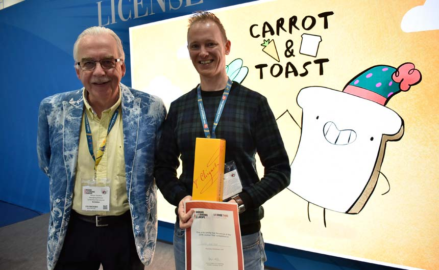 Drew (pictured with chair of the License This judging panel, Kelvyn Gardner) also entered the competition in 2018.