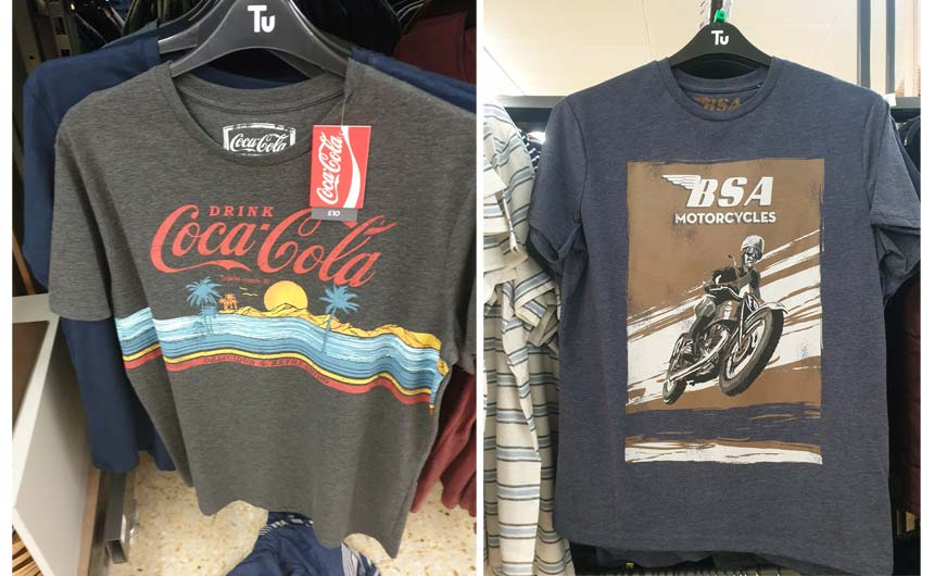 Brands featured in Sainsbury's on men's t-shirts included Coca-Cola and BSA.