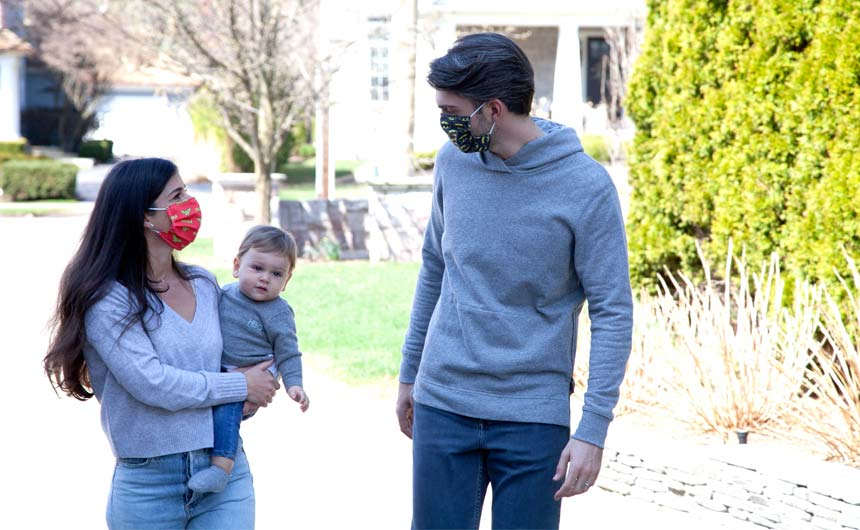 MaskClub founder Trevor George, with his wife Morgan and their son, Hudson.