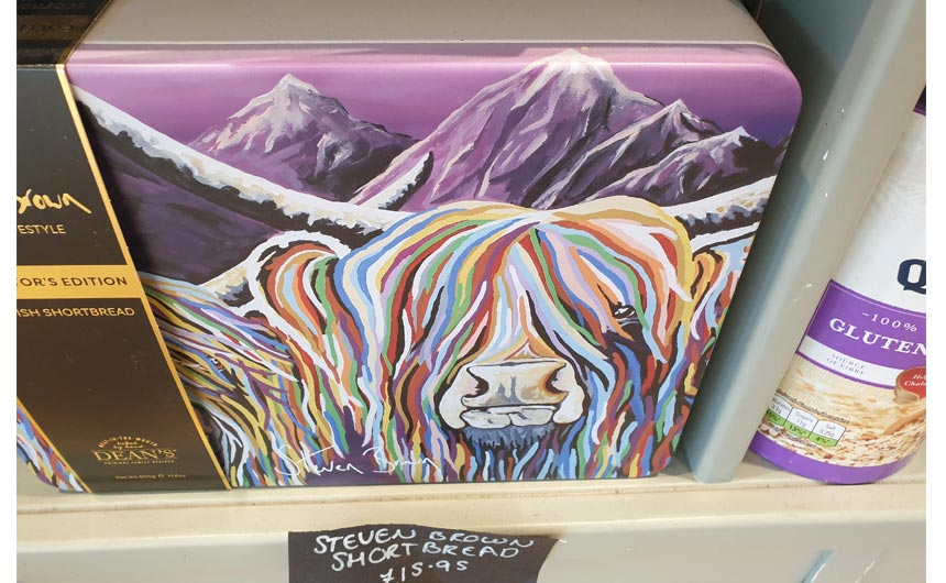 Dean's of Huntly is featuring the artwork of Steven Brown on its shortbread tins.