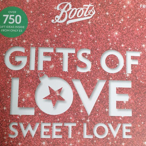 The Boots' catalogue calls out 'over 750 gift ideas from only £5'.