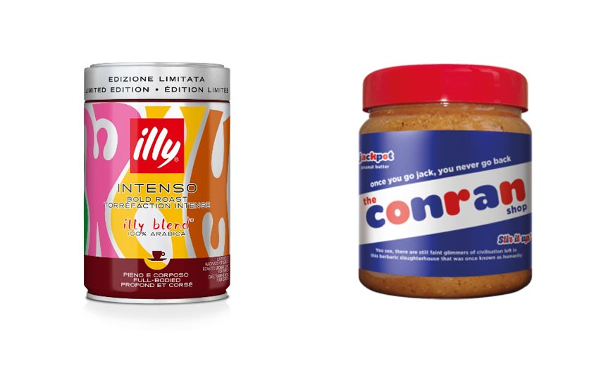 The Illy coffee brand is working with Italian illustrator, Olimpia Zagnoli, while Jackpot peanut butter has teamed with The Conran Store.