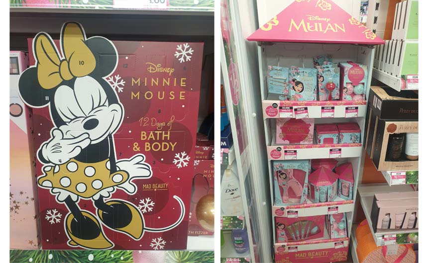 Minnie Mouse and Mulan ranges from Mad Beauty have prominent displays in Superdrug.