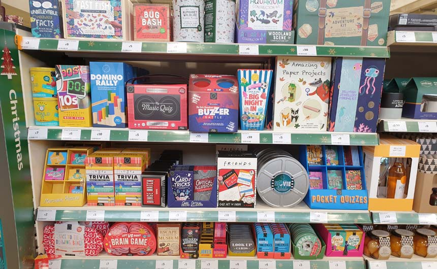 Friends was a licensing bright spot in this boxed and party games offer in Sainsbury's Godalming.