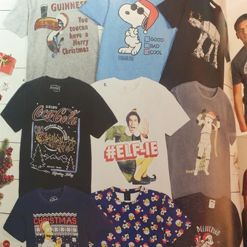 Next has some variety in its Christmas t-shirt selection for men.