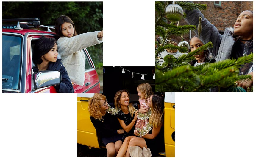 Clockwise from top left: the Frantova family, the Davis family and the Perez family starring in the campaign.