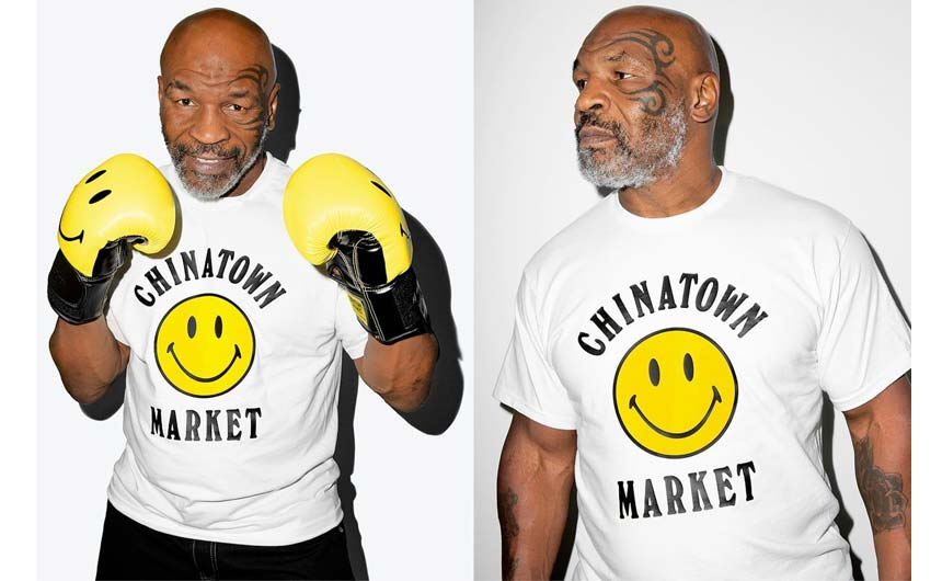Mike Tyson helped to launch a collaboration with Chinatown Market which included Smiley boxing gloves.