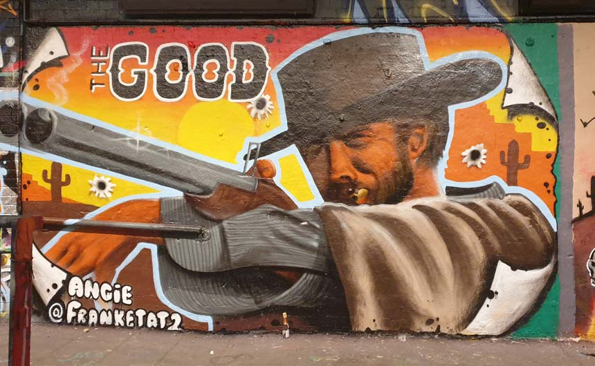 Clint Eastwood is currently rubbing shoulders with the likes of Elmo and Daffy Duck at Leake Street Arches.