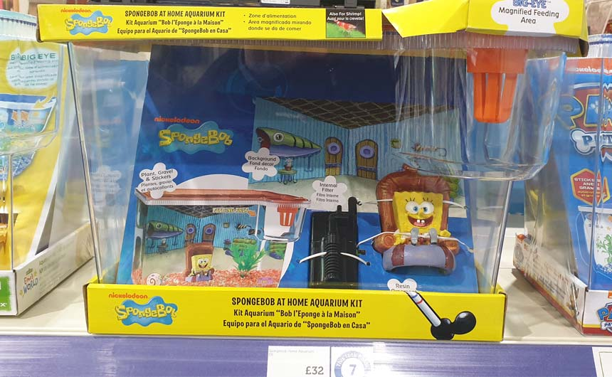 Pets at Home stocks a variety of character-branded aquariums and accessories, like SpongeBob SquarePants.
