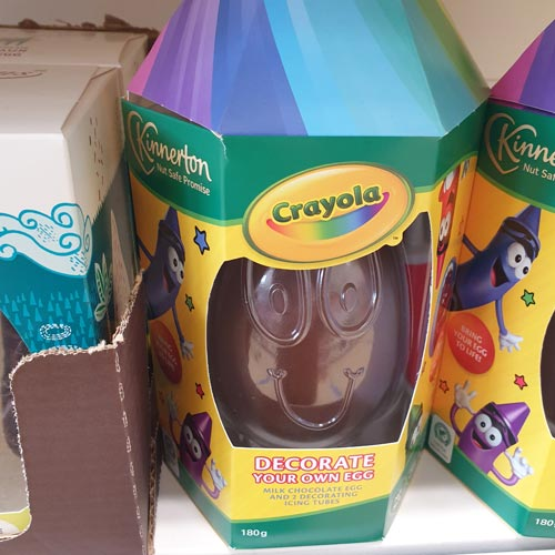 Kinnerton's Crayola egg stood out well on shelf and made good use of a trusted brand.