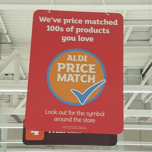 Sainsbury's is promoting its Price Match scheme matching Aldi's prices.