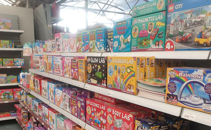 A dedicated space for toys and games highlighted some key licences.