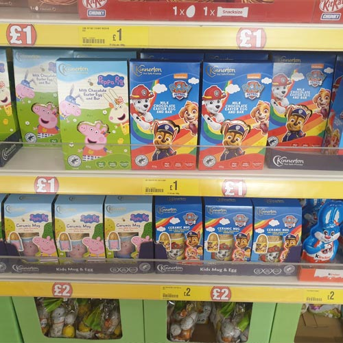 A good range of licensed Easter Eggs from Kinnerton featured in-store.