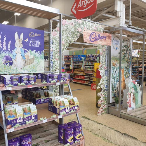 The Peter Rabbit arch-shaped display greeted customers to Sainsbury's.