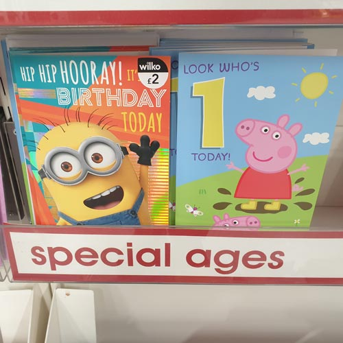 Licensed cards featured in the greeting cards offer in Wilko.
