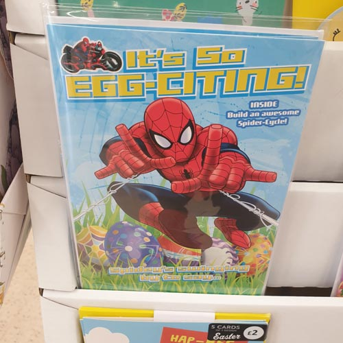 Spider-Man has been leaping his way onto Easter cards in Tesco.