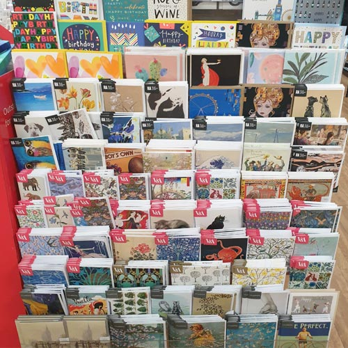 V&A and the Royal Academy of Arts cards featured prominently in WH Smith.
