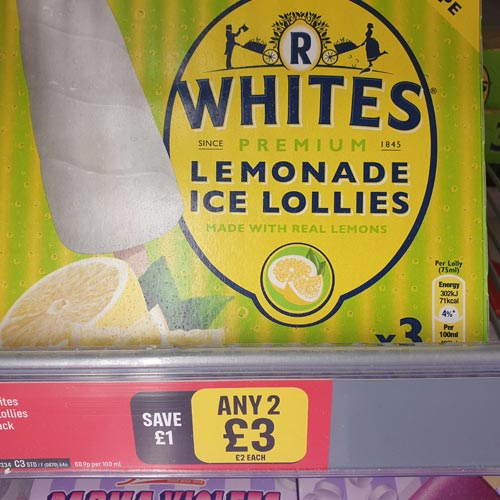 R Whites Lemonade Ice Lollies was just one of the third party licensed products in Iceland.